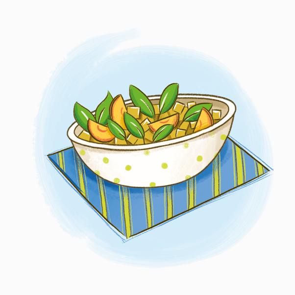 Insalata di Pollo al Curry e Pesche