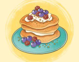 Pancake integrali con nocciole, frutti di bosco e yogurt
