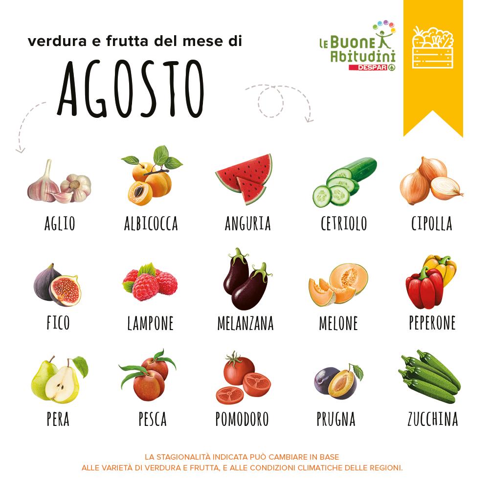 Il carrello di stagione: verdura e frutta del mese di agosto
